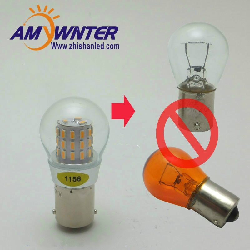 AMYWNTER 12V 1156 led P21W 1157 P21/5W S25 Car Canbus LED Turn Signal Auto Reverse Lamp Bulb PY21W Amber Yellow 4W
