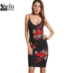 SheIn Summer Dress 2017 Dress Sexy V          Cami Bodycon Dr