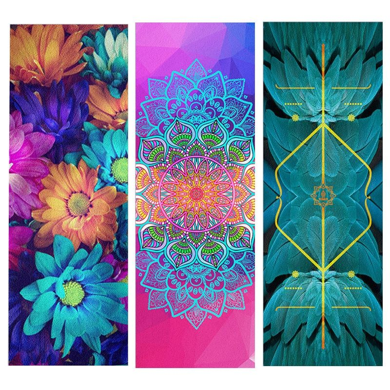 Natural Rubber Suede Yoga Mat Mandara Linear Symmetry Pilates Fitness Pad 1830*660*1.5mm Ultra-light Portable Yoga Mat Cover