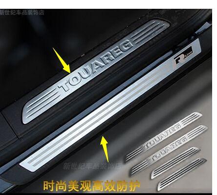 8 stücke edelstahl led-verschleißplatten-türeinstiegsleisten für Volkswagen Touareg 2011--2017 auto styling auto zubehör