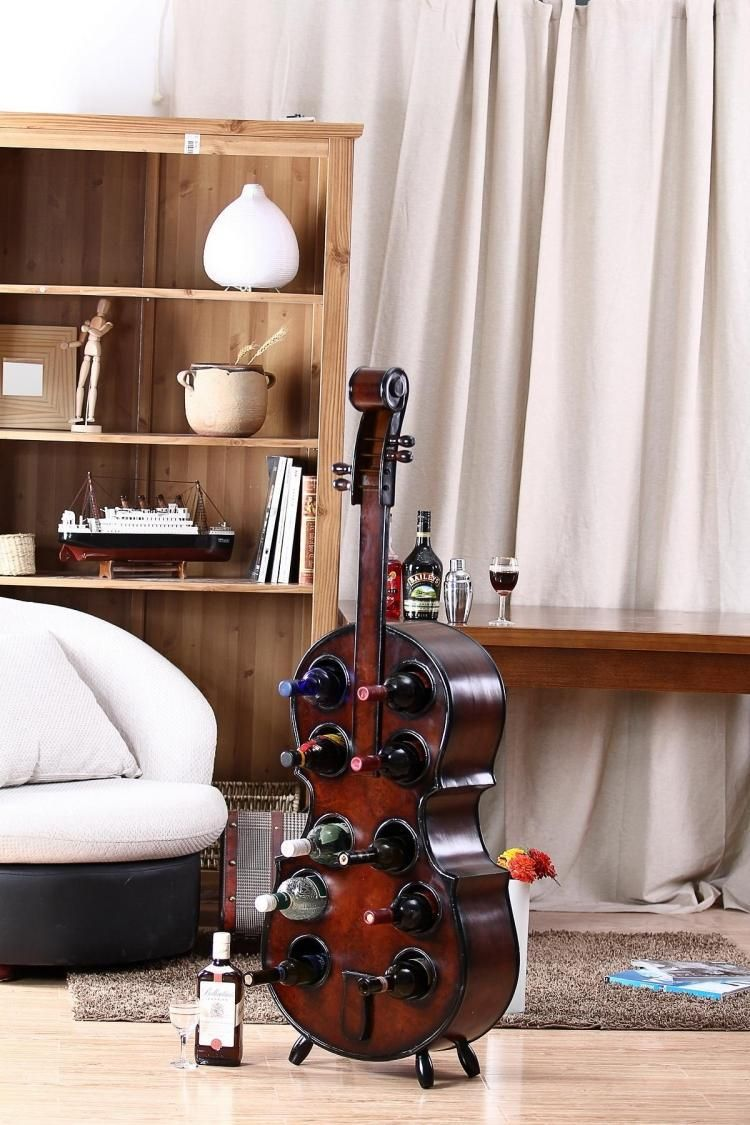 Creative Wood Art Cello Model Wine and Beverage Display Stand Ornament Barware Handicraft Furnishing for Bar and Home Decoration