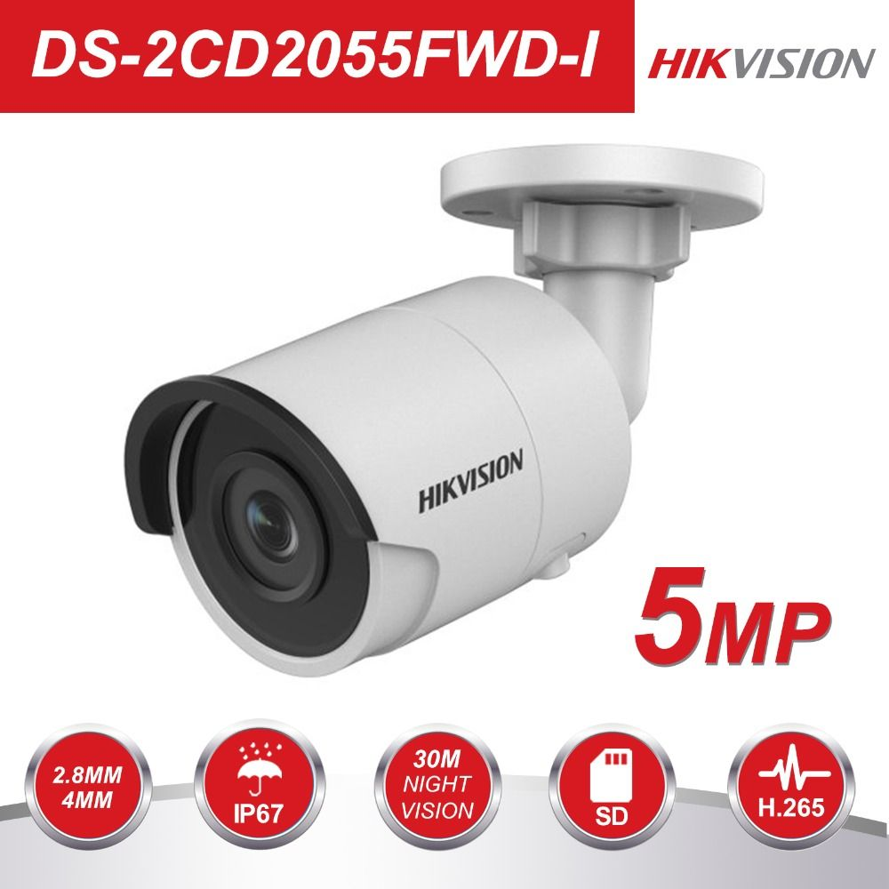 Hikvision HD CCTV IP Camera PoE DS-2CD2055FWD-I 5 Megapixel WDR Network Mini Bullet IP Camera H.265 Replace DS-2CD2052-I