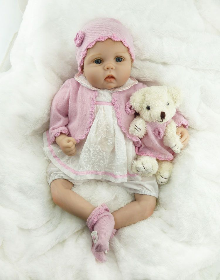 55cm New Soft Silicone Reborn Baby Doll Toy Lifelike NPKCOLLECTION Baby Girl Princess Doll With Bear Child Birthday Gift Present