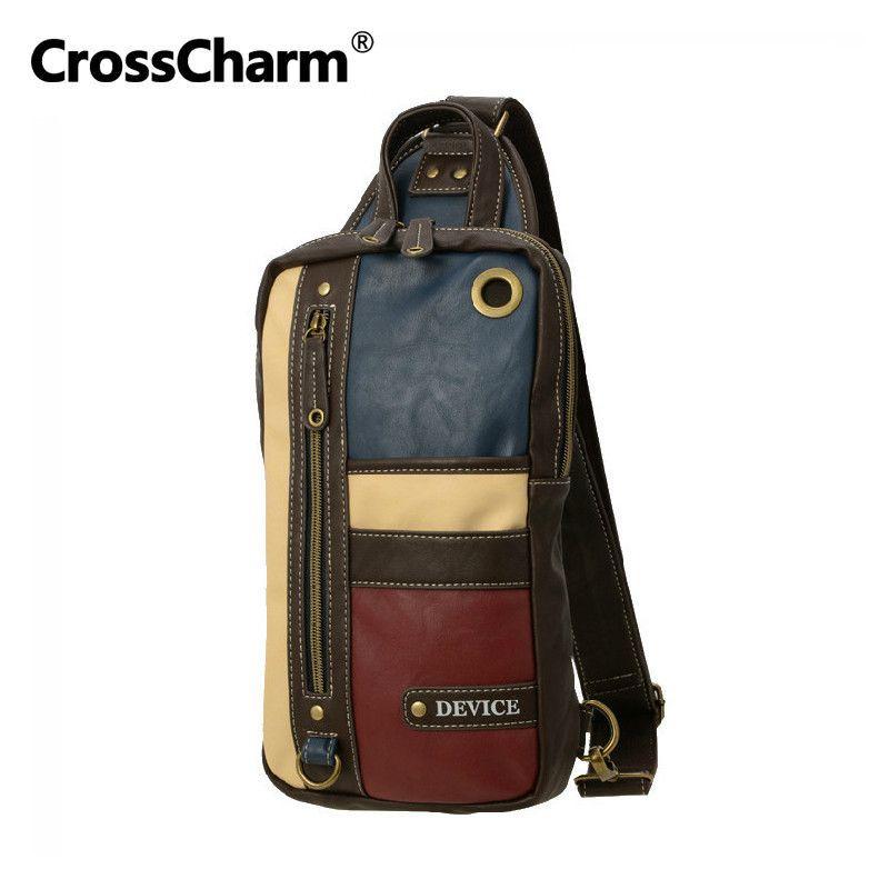 CrossCharm homme sac à main en microfibre cuir bandoulière sac Messenger sac à bandoulière poitrine Pack pour hommes Patchwork lambrissé 40033