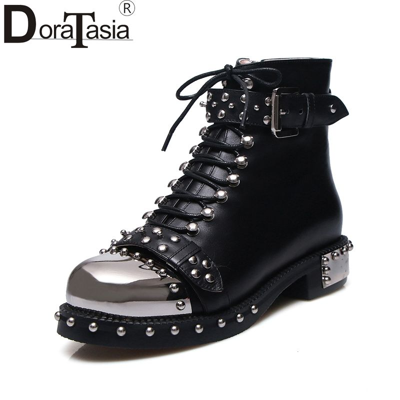 DoraTasia brand design genuine leather large size 34-43 rivets punk style martin boots black white buckles women shoes woman