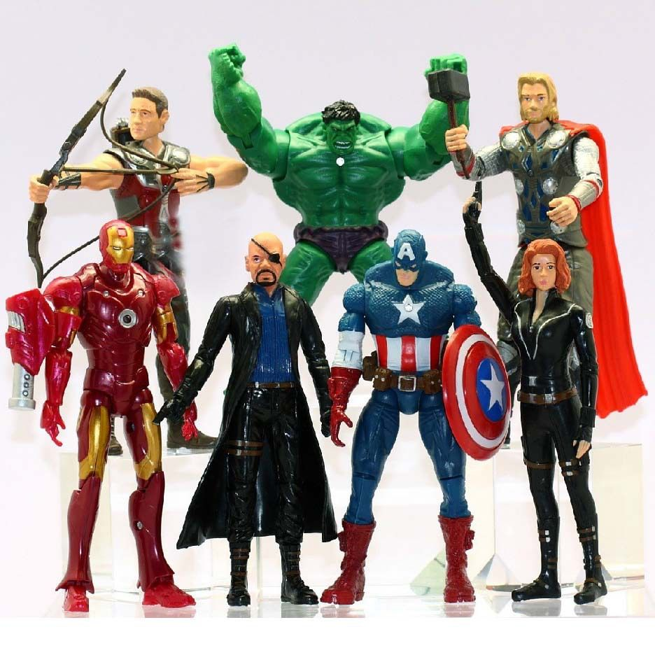 7Pcs/Set The Avengers Batman Black Widow Hulk Iron Man Captain America Thor Spiderman PVC Figure Toy Doll 15cm WJ429