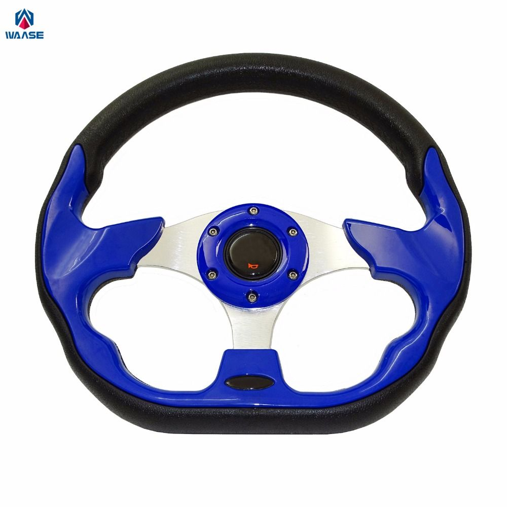 waase New Universal Steering Wheels 320mm PU Leather Racing Sports Auto Car Steering Wheel with Horn Button 12.5 inches Blue