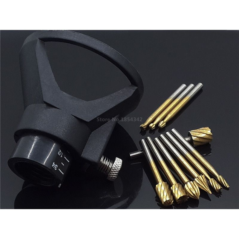 10pcs Set Titanium Dremel Routing Milling Rotary File  Wood Carving Carved Knife Cutter Tools Accessories + Locator Located Horn