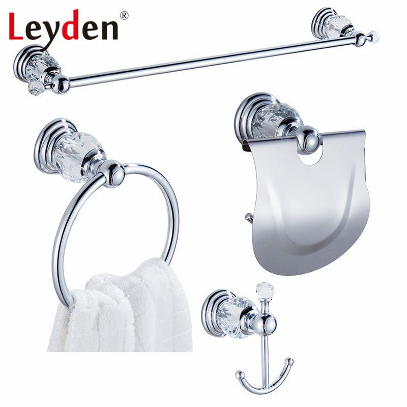 Leyden Luxus Kristall Verchromt Handtuchhalter Kleiderhaken Toilettenpapierhalter Handtuchring Wand Bad-accessoires Set