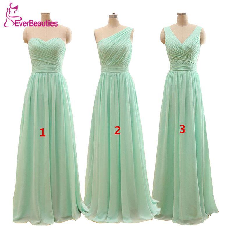 2019 Long Cheap Mint Green Bridesmaid Dresses Under 50 Floor Length Chiffon a-Line Vestido De Madrinha De Casamento Longo