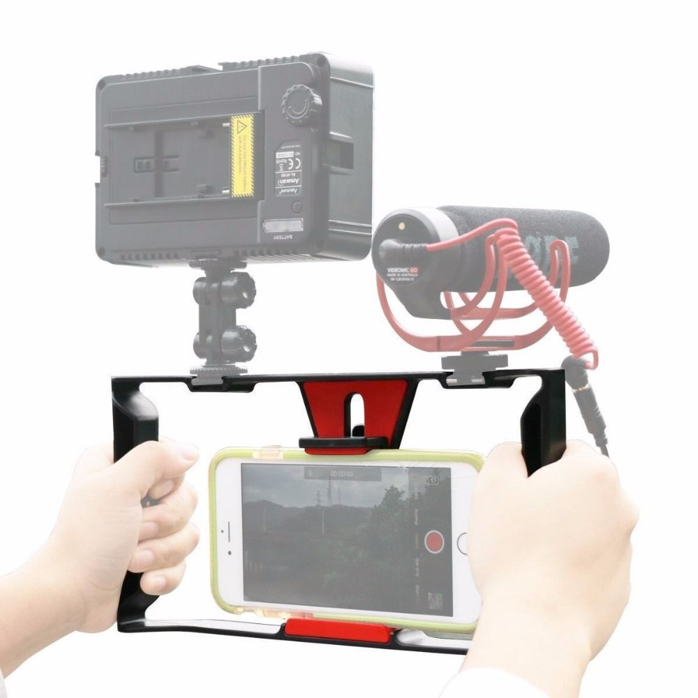 Ulanzi <font><b>Handheld</b></font> Smartphone Video Rig With 2 Hot Shoe Mounts Vlogging Rig Stabilizer for iPhone Instagram Video Microphone LED