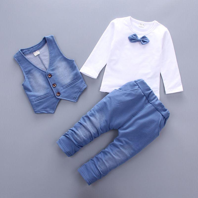 Hot sale 2018 Spring Autumn new fashion baby boy clothes 3pcs set denim style cotton with tie <font><b>children</b></font> clothing suit A014