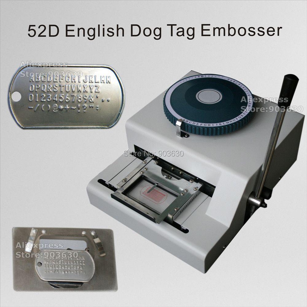 Fabrik Niedrigen Preis 52 Code buchstaben Manuelle GI anzahl edelstahl platte präge maschine Militär Armee Hund Tag embosser maschine