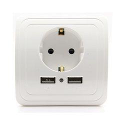 Бесплатная доставка 16a ЕС Стандартный электрической розетке с 1500MA Dual USB Зарядное устройство Порты и разъёмы для мобильного стены Мощность р...