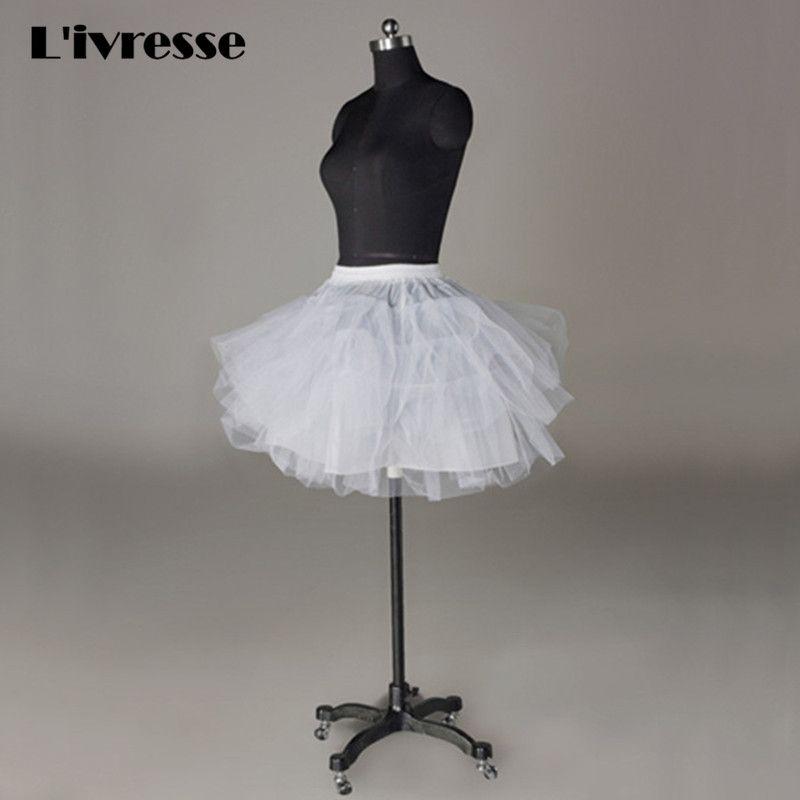 Blanco Negro Niñas Tul Petticoat Slip Sin Aro Enagua Corta De Bola Del Vestido de Boda