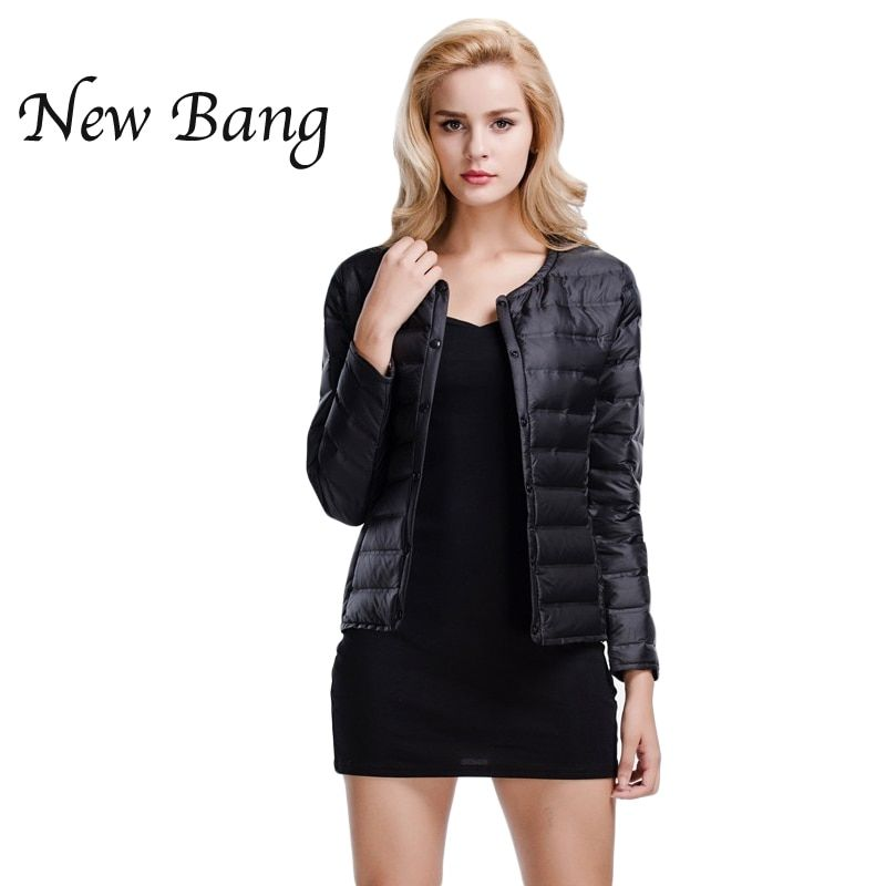 NewBang Feather Jacket Woman Ultra Light Down Jacket Women Portable Slim Female Windbreaker Collarless Coat With Carry Bag