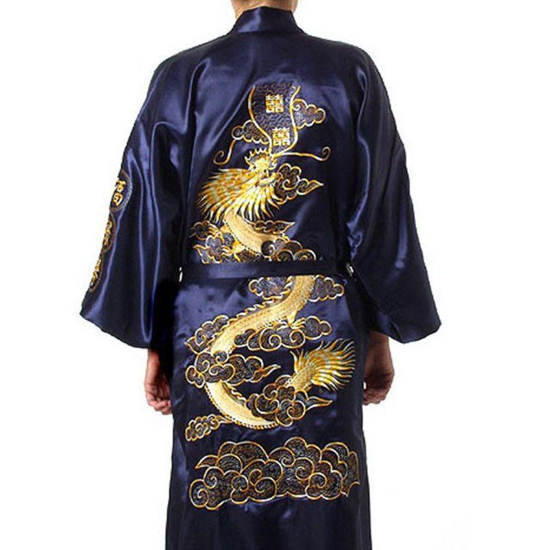 Free Shipping Navy Blue Chinese Men's Satin Silk Robe Embroidery Kimono Bath Gown Dragon Size S M L XL XXL XXXL S0008