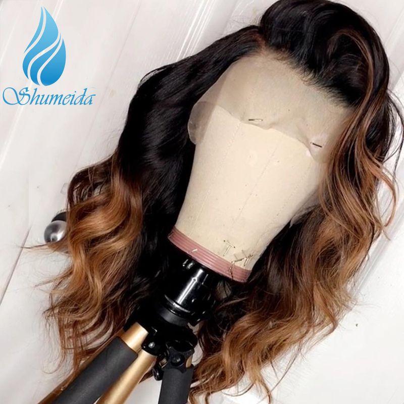 SHD Ombre couleur cheveux humains 13*6 dentelle avant perruque avec partie profonde ligne brésilienne vague de corps Remy cheveux sans colle dentelle perruque bébé cheveux