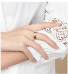 De luxe 4/6mm carter amour anneaux pour femmes hommes Bijoux en cristal De Mode titane acier Or Rose bijoux couple célèbre amour anneau