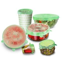 6pcs Reusable Silicone Lid Cover Bowl Pan Cooking Pot Stretch Covera Food Wrap Fresh Keeping Kitchen Accessories