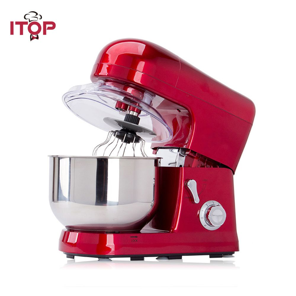 ITOP Heavy Duty Homeuse Commercial Blender 5L Food Mixer 6 Speeds Dough Mixer With Whisk Food Processors 110V 220V