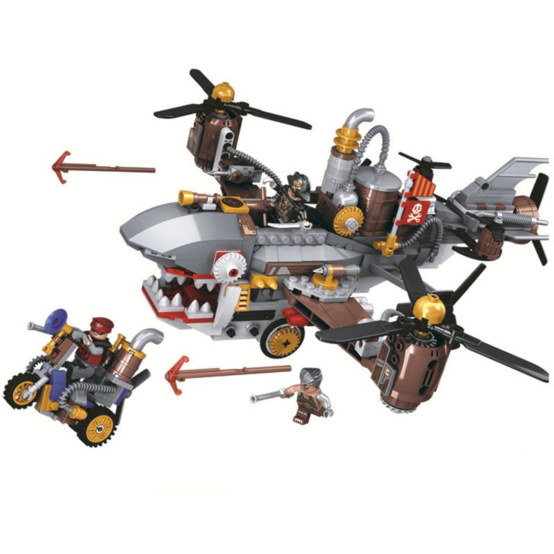 Age Of Steam Creator Pirate Shark Airship Building Blocks Sets Bricks Classic City Car Model Kids Gift Toys Compatible Legoings