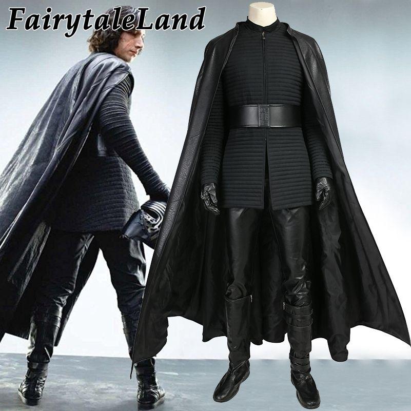 Star Wars The Last Jedi Kylo Ren Cosplay Costume Carnival Halloween Costumes adult men Kylo Ren costume suit boots custom made