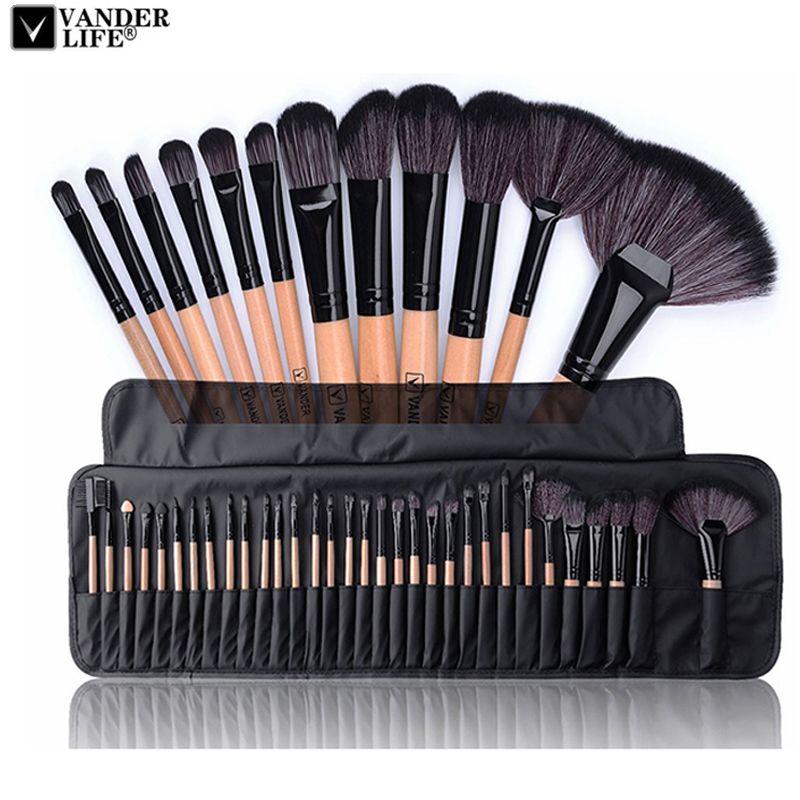 32 pcs Professionnel maquillage Pinceaux maquillage Pinceau Poudre Pinceaux maquillage Beauté Cosmétique Outils Kit Fard À Paupières Pinceau À Lèvres Sac