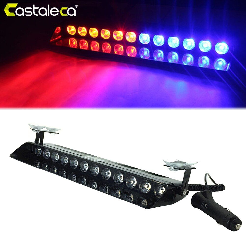 castaleca Car Led Emergency Strobe <font><b>Flash</b></font> Warning Light 12V 12 Led 12W Police Flashing Lights Red Blue Amber White Car styling