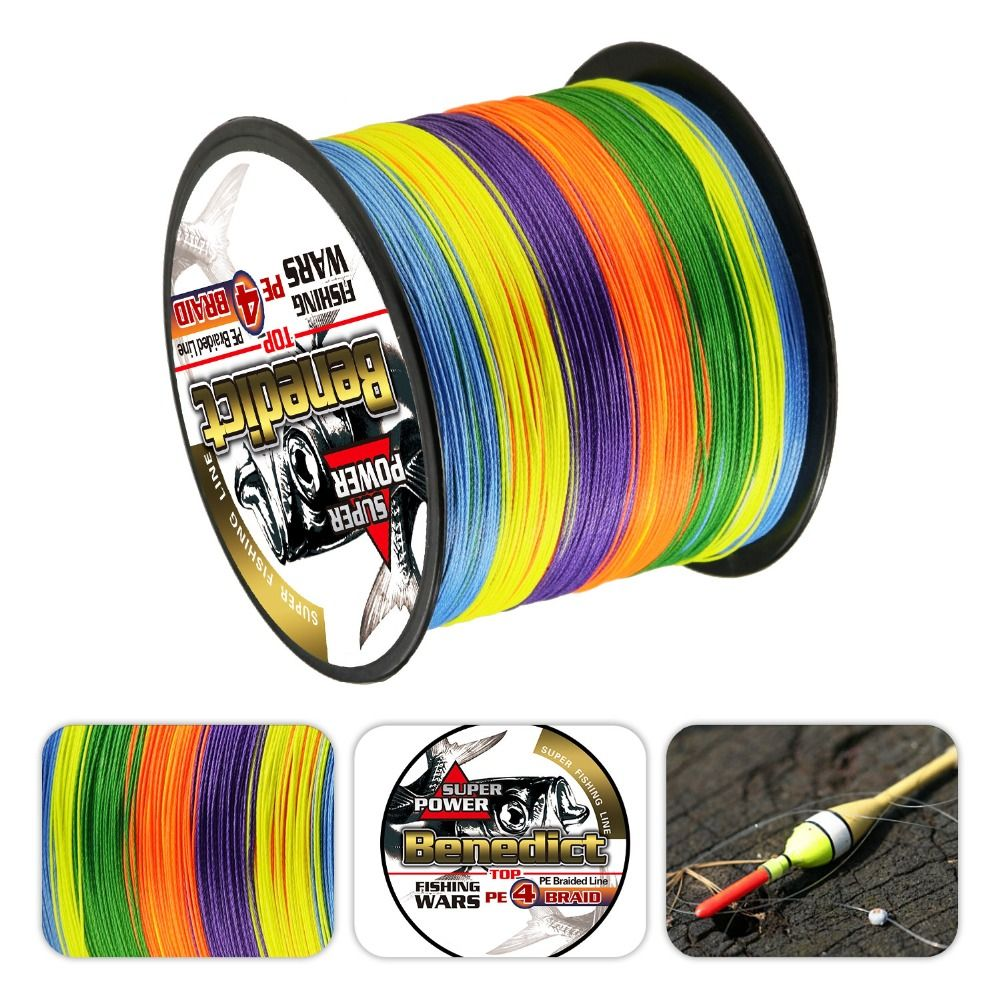 Super forte arc-en-ciel 500 M fils tressés 100% pe fibre ligne de pêche spectra multicolore 4 brins 6lb-80LB ligne multifilament