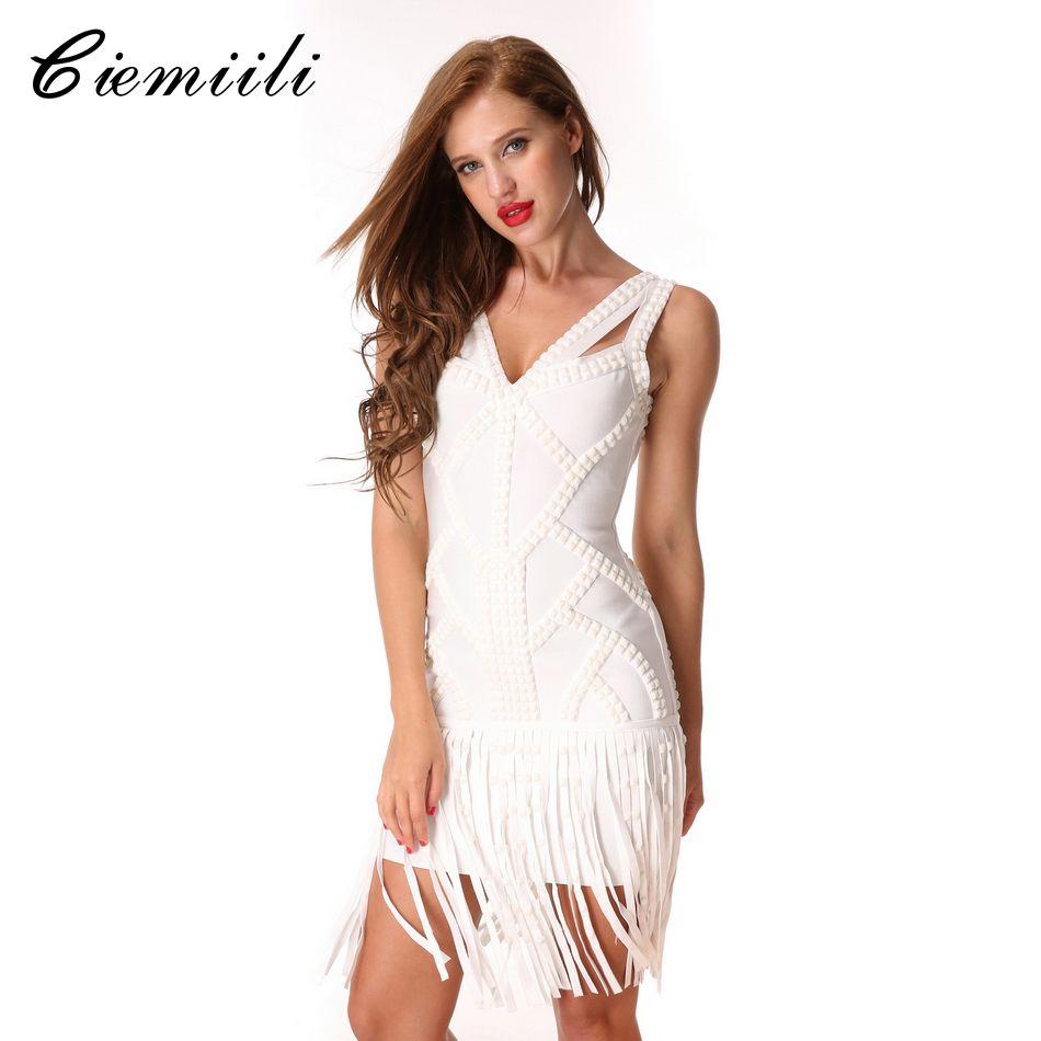 CIEMIILI 2018 v-cou cristal gland soirée moulante blanc Sexy robe Noble sans manches robes genou-longueur Bandage robe