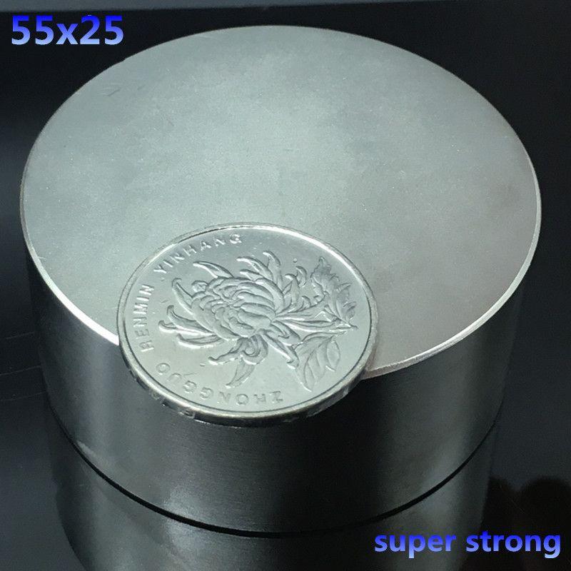 1 pcs N52 55x25mm ronde forte néodyme aimants 55*25mm forte Rare Terre Magnétique puissant super forte aimants