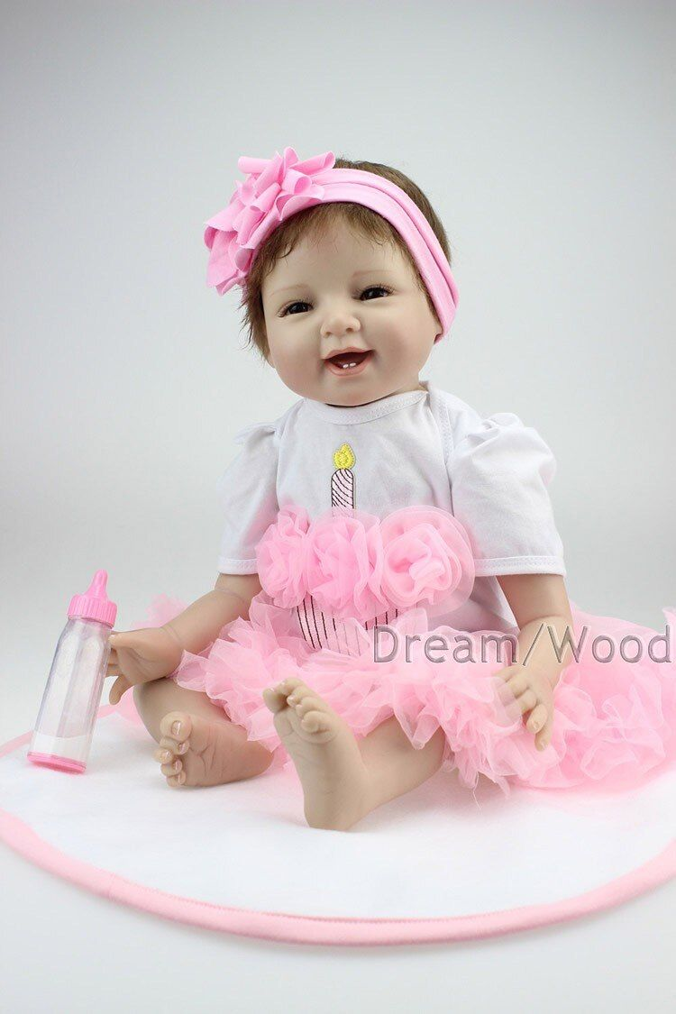 55cm Soft Silicone Reborn Baby Doll Handmade Clothes Little Girl doll Reborn Brinquedos Early Education Reborn Baby Dolls