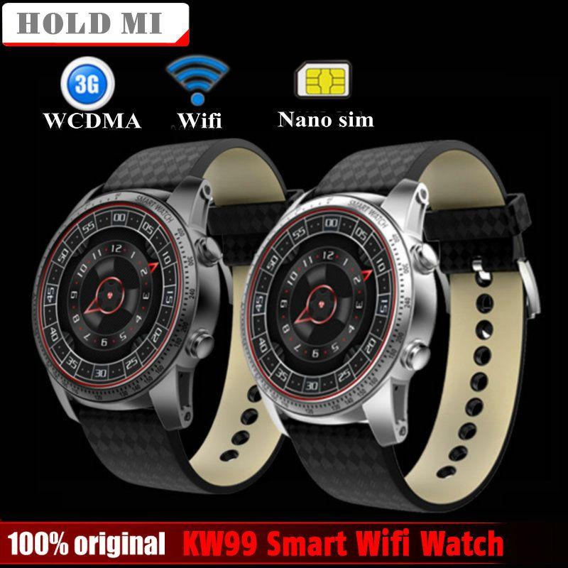 Tenir Mi KW99 Montre Smart Watch Téléphone MTK6580 3G WIFI GPS montre Hommes Surveillance de la Fréquence Cardiaque Bluetooth Smartwatch Android Téléphone PK KW88