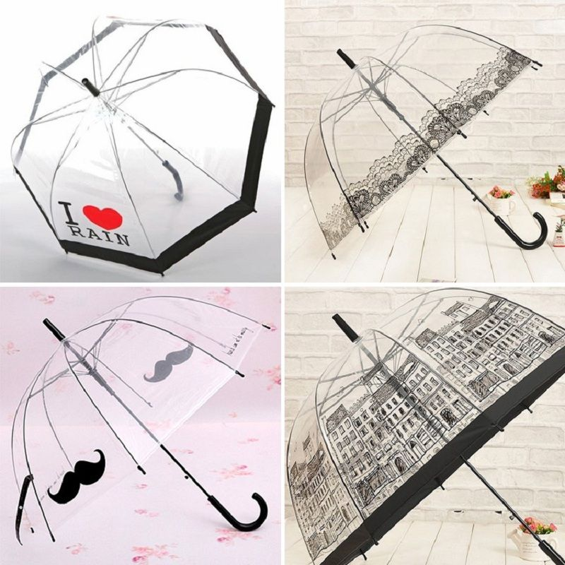 Hot Sale Long Handle Transparent Umbrella Creative Semi-<font><b>automatic</b></font> Sunny and Rainy Umbrella Women Girls Outside Tools