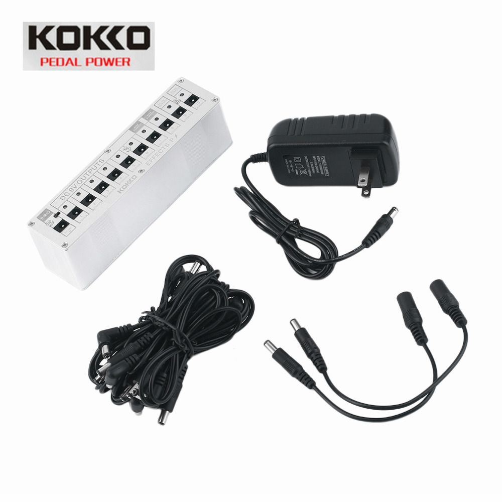 KOKKO 10 Isolated Output DC 9V 12V 18V Guitar Pedal Effect Power Supply Adapter Aluminum Alloy Guitar Accessories drop shipping
