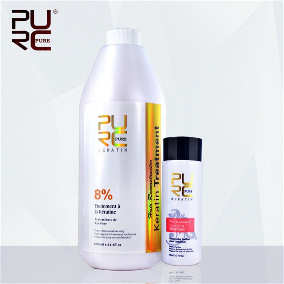 2PCS/set PURC 8% Formalin 1000ml Brazilian Chocolate Keratin Hair Treatment + 100ml Purifying Shampoo Hair Care Repair Damaged