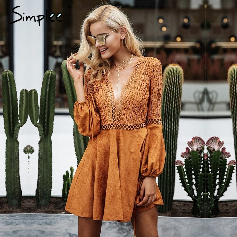 Simplee Sexy lace up v neck suede lace dress women Hollow out flare sleeve winter dress party christmas Autumn backless femme