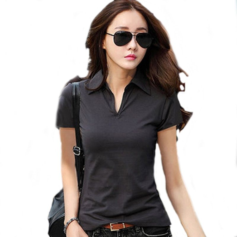 Summer Polo Shirt Women 2017 New Short Sleeve Solid Slim Polos Mujer Shirts Tops Fashion womens Polo shirts Femme 5 Color A192
