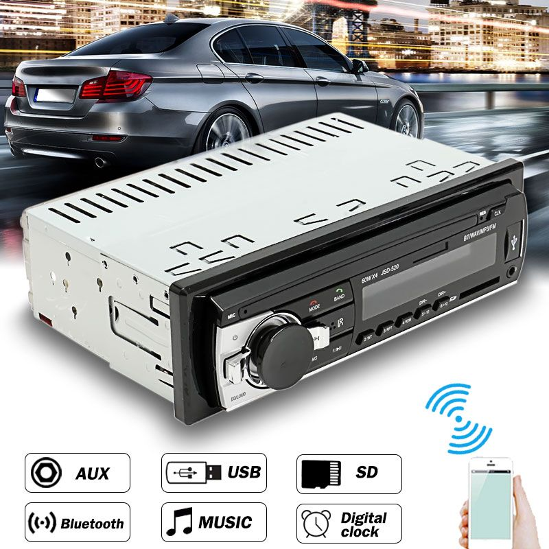 12V-24V 1 Din In Dash Car Radio Bluetooth Auto Car Audio Stereo Player Support Phone AUX-IN MP3 FM USB Remote Control