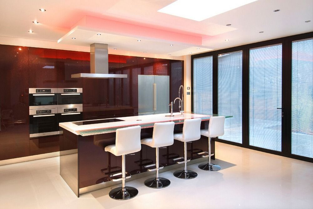 2016 newest design high gloss lacquer kitchen cabinets red color modern 2PAC kitchen furnitures L1606086