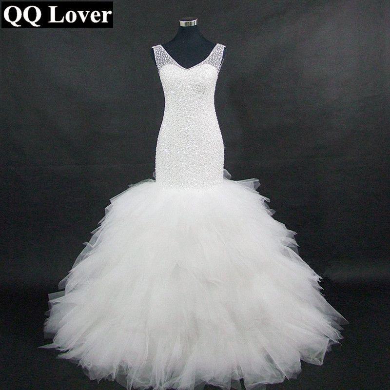 QQ Lover Arabic Style Wedding Dress 2018 Deep V Neck Beading Layer Mermaid Wedding Chapel Train Beach Bridal Dress