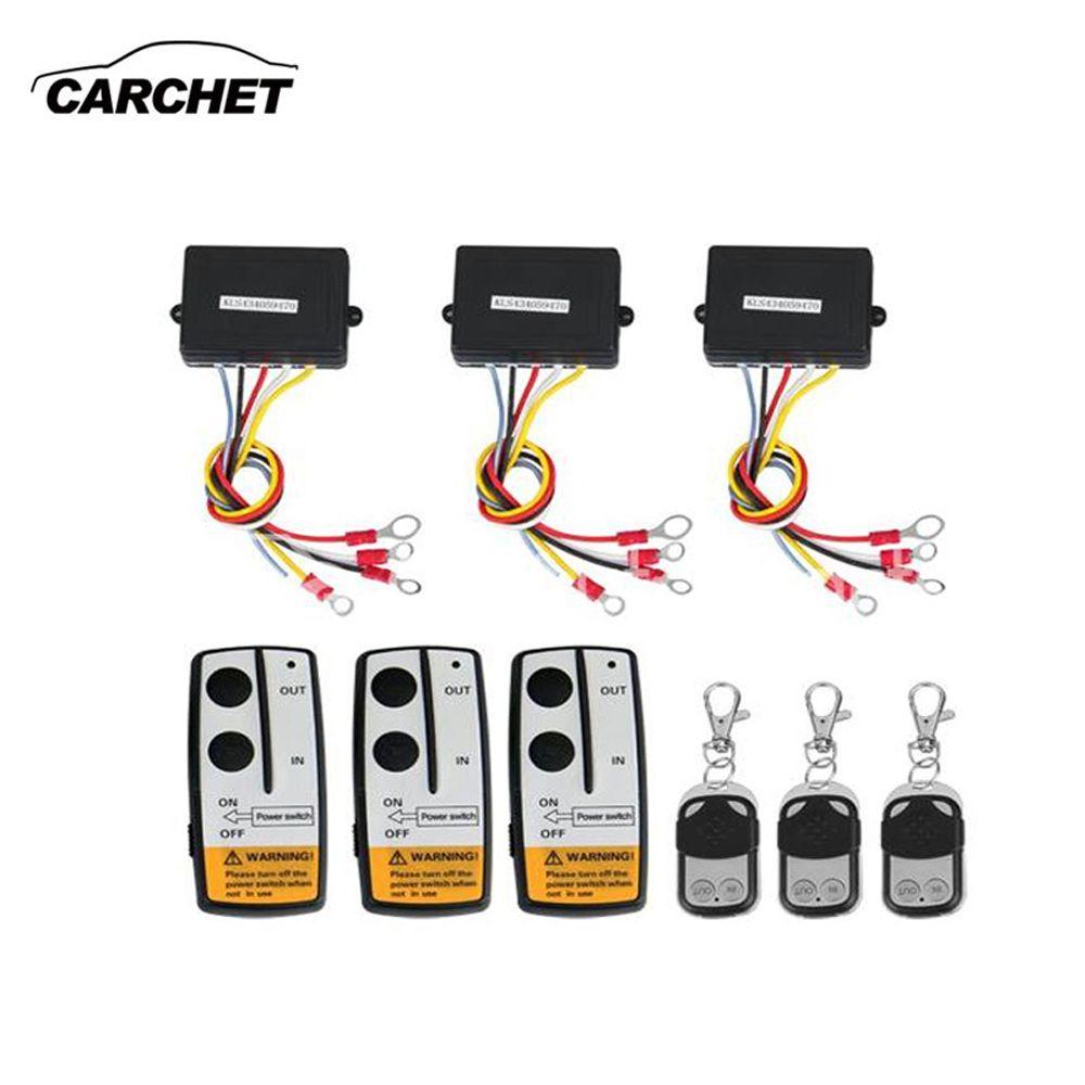CARCHET Universel 3 pièces Treuil Sans Fil télécommande Kit 12 V 50FT Pour camion jeep SUV ATV Pour Auto-récupération Treuil LIVRAISON GRATUITE