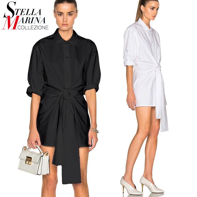 2017 European Women Tops Black White Long Blouse Shirt Long Sleeve Sashes Elegant Ladies Chiffon Shirt chemise femme Blusas 1637