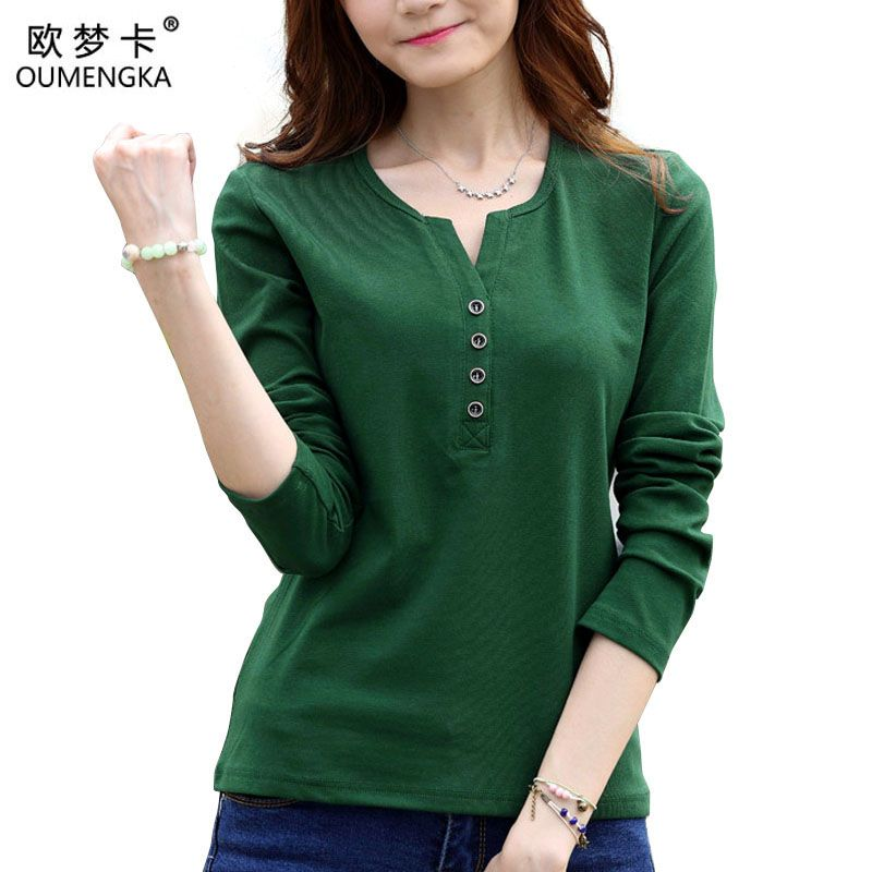 OUMENGKA Tee Shirt Femme Automne À Manches Longues t-shirt Femmes t shirt Femmes Tops Mode Poleras De Mujer Solide Camisetas Mujer 4XL