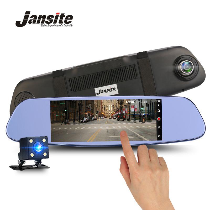 Jansite <font><b>7inch</b></font> touch screen Car DVR 1080P Dual Lens Car Cameras earview mirror Loop record Car Recorder Registrar Dash cam