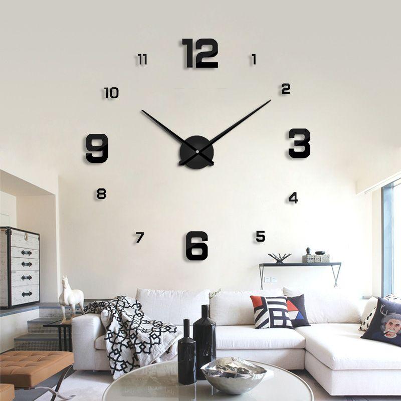 2019 design moderne précipité Quartz horloges de mode montres miroir autocollant bricolage salon décor nouveauté 3d réel grande horloge murale