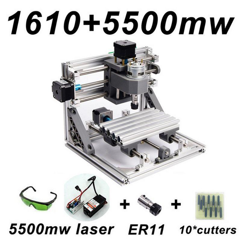 CNC1610 5500 mw Laser Gravur Maschine ER11 500 mw 1500 mw Kopf Holz Router PCB Fräsmaschine Holz Carving Maschine DIY GRBL