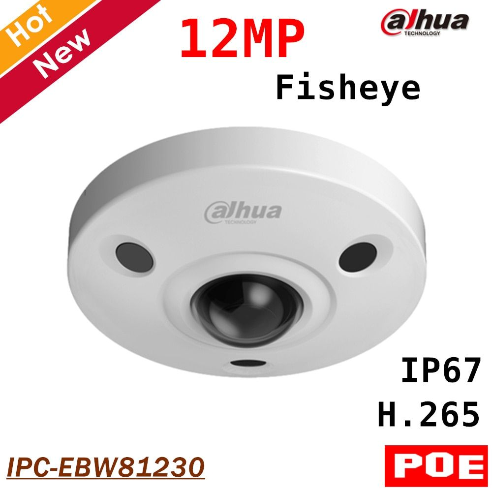 Dahua 12MP Panoramic Camera IR Fisheye IP Camera IPC-EBW81230 Day/Night H.265 Support POE and Smart detection Max 128g storage