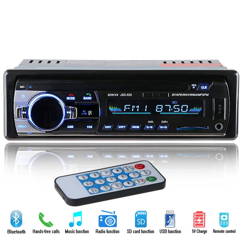 Digital Bluetooth Car MP3 Player FM Receiver Radio Stereo Car Audio Music USB / SD with In Dash Slot AUX with Remote Controller